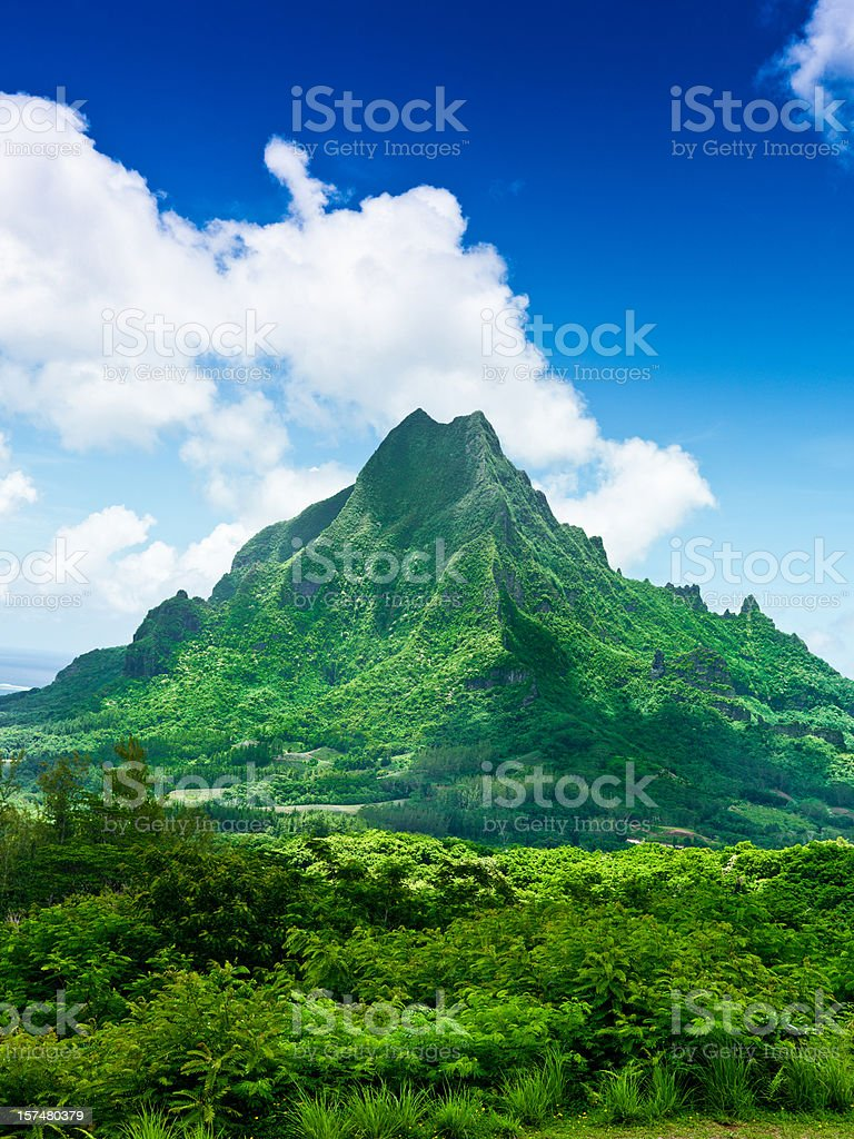 Moorea Island Roto Nui Volcanic Mountain French Polynesia stock photo