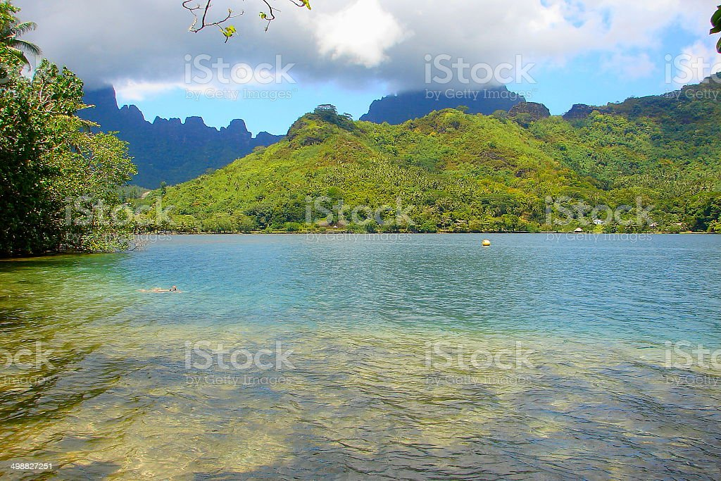 Moorea turquoise beach and green landscape, Polynesia royalty-free stock photo