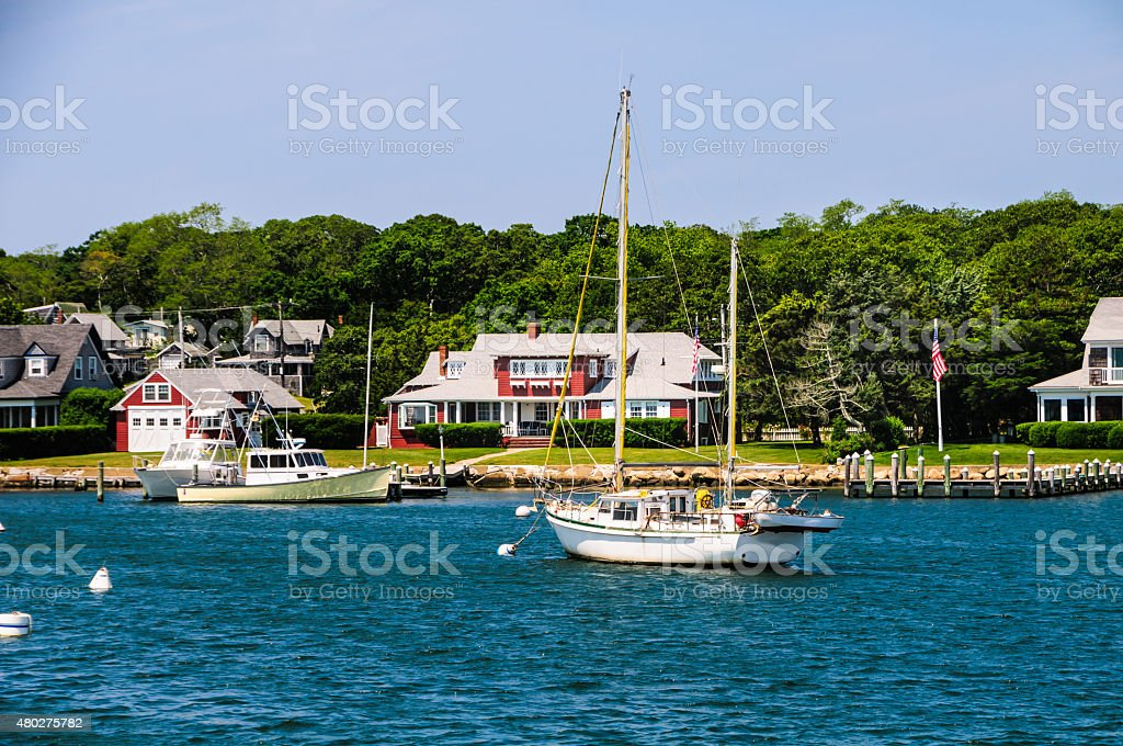 Moored at  Oak Bluffs stock photo