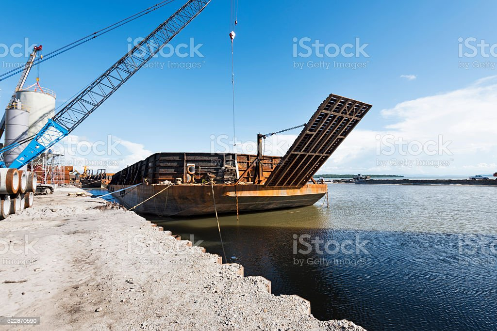 Moored Barge stock photo