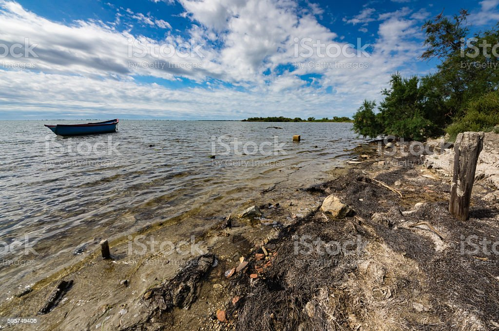 Moored boat in Camargue stock photo