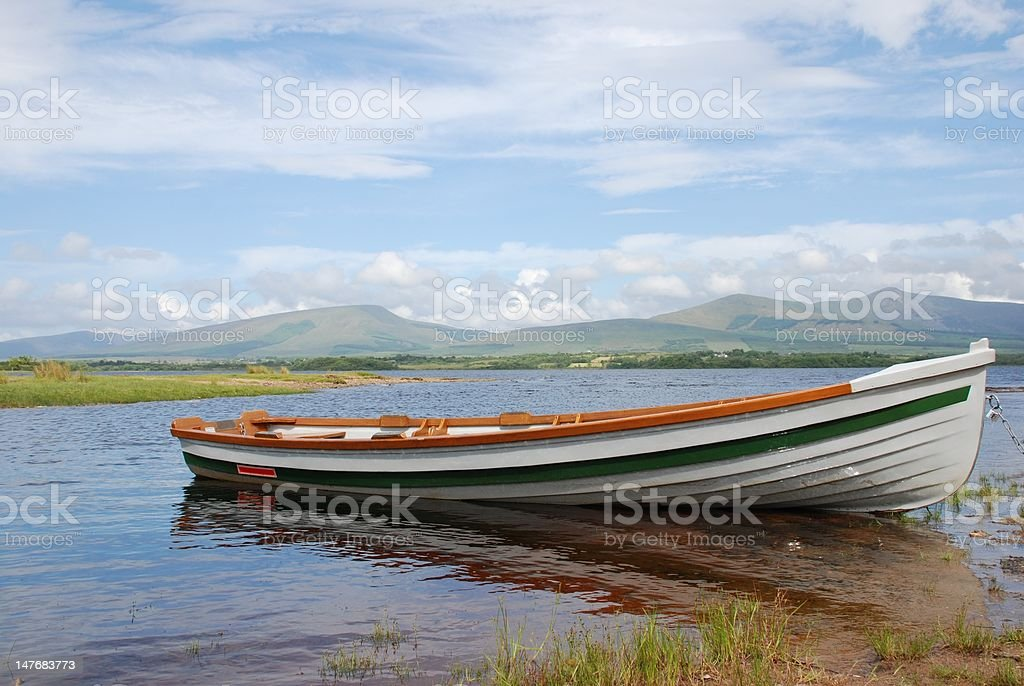 Moored boat on Lough Conn royalty-free stock photo