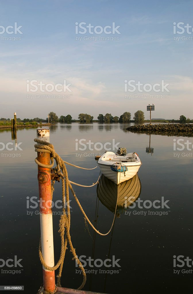 Moored boat stock photo