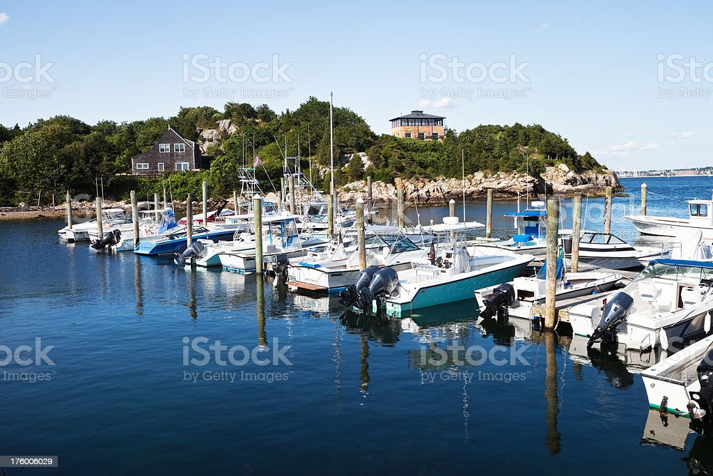 Moored boats at Jamestown Rhode Island stock photo