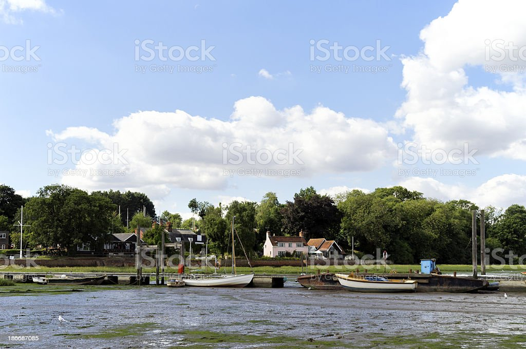 Moored boats at Pin Mill, Suffolk royalty-free stock photo