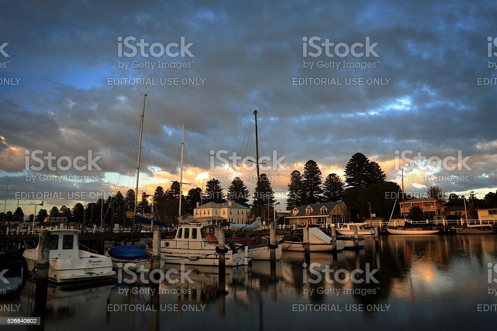 Moored Boats at Port Fairy, Victoria, Australia stock photo