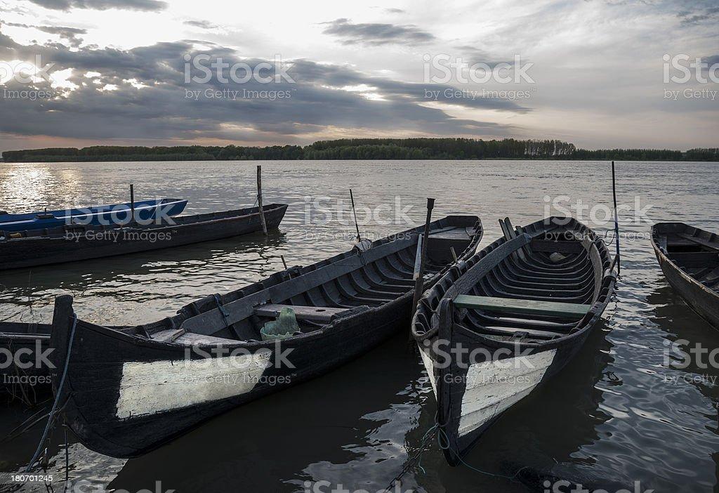 Moored Boats At Sunset royalty-free stock photo