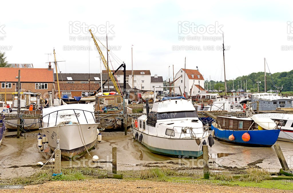 Moored boats at Woodbridge royalty-free stock photo