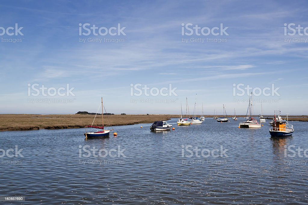 Moored boats in harbour at Wells-next-the-Sea royalty-free stock photo