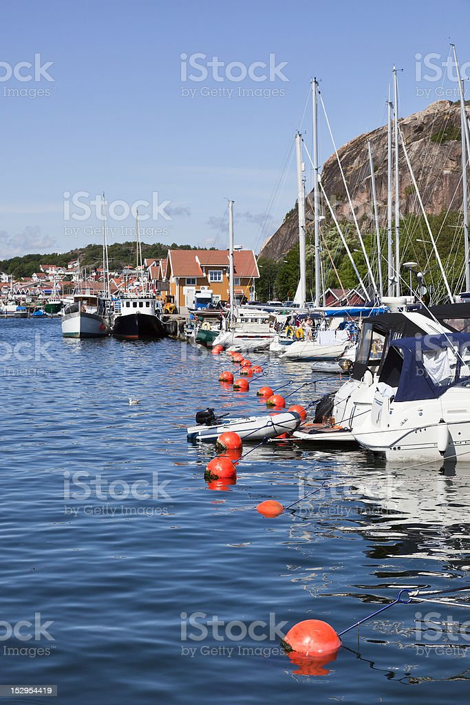 Moored boats in the harbor royalty-free stock photo