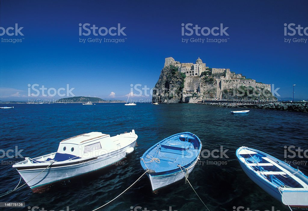Moored boats on a still ocean, Ischia royalty-free stock photo