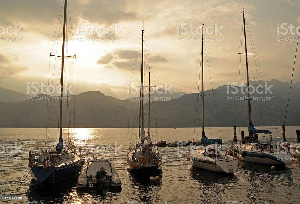 Moored Boats on Lake Garda royalty-free stock photo
