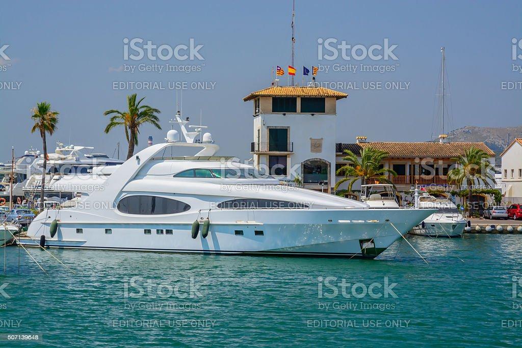 Moored boats Port de Alcudia stock photo