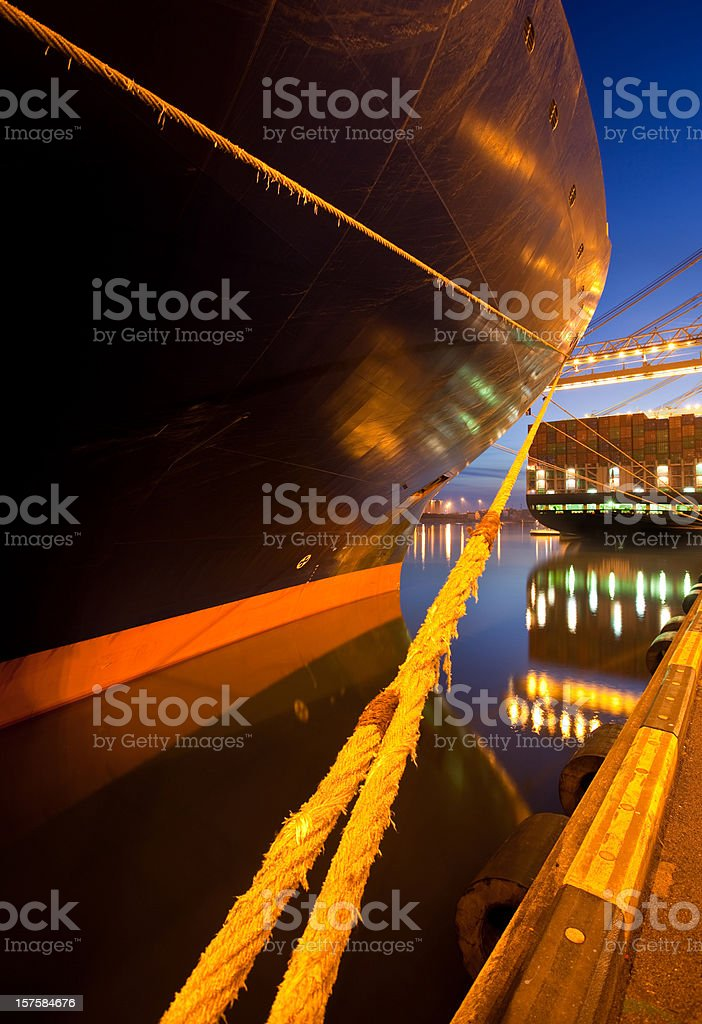 Moored container ships royalty-free stock photo