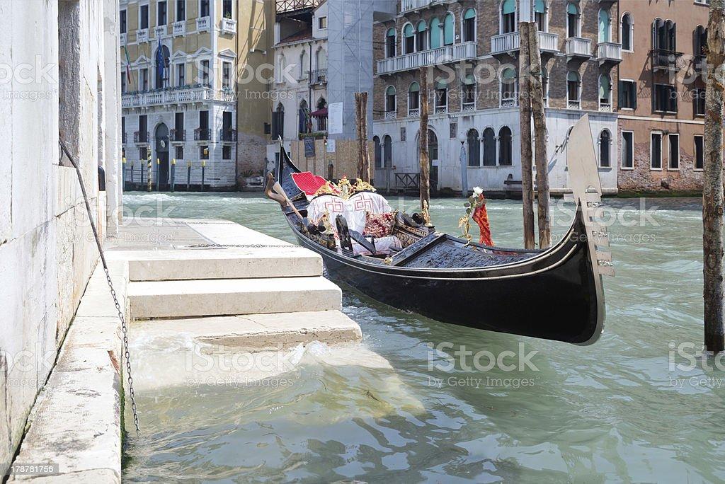 Moored gondola in Canal Grande of Venice, Italy royalty-free stock photo