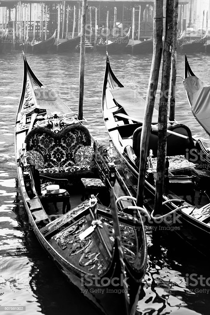 Moored gondolas stock photo
