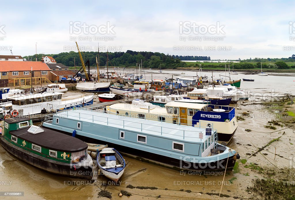 Moored houseboats at Woodbridge, Suffolk stock photo