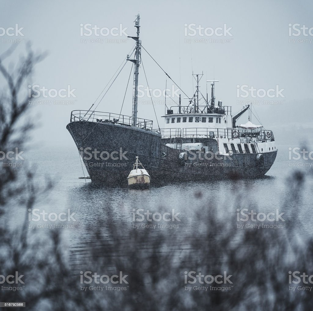 Moored in Winter stock photo