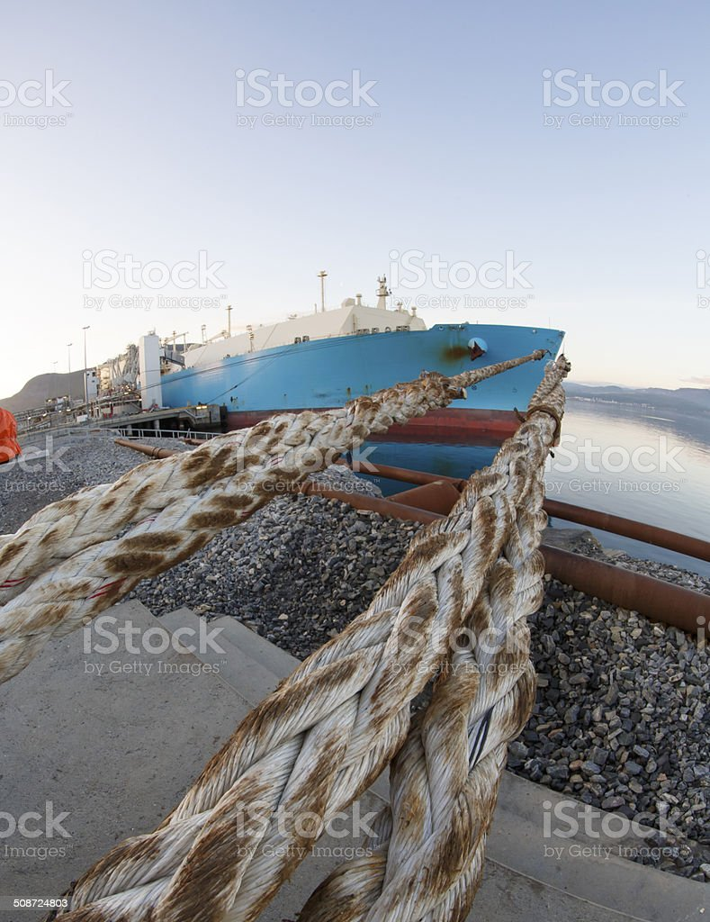 Moored LNG tanker. stock photo