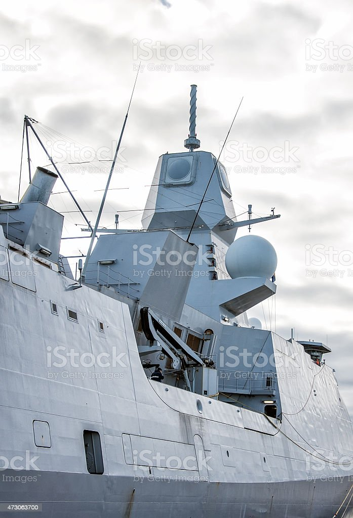 Moored naval ship with radar. stock photo