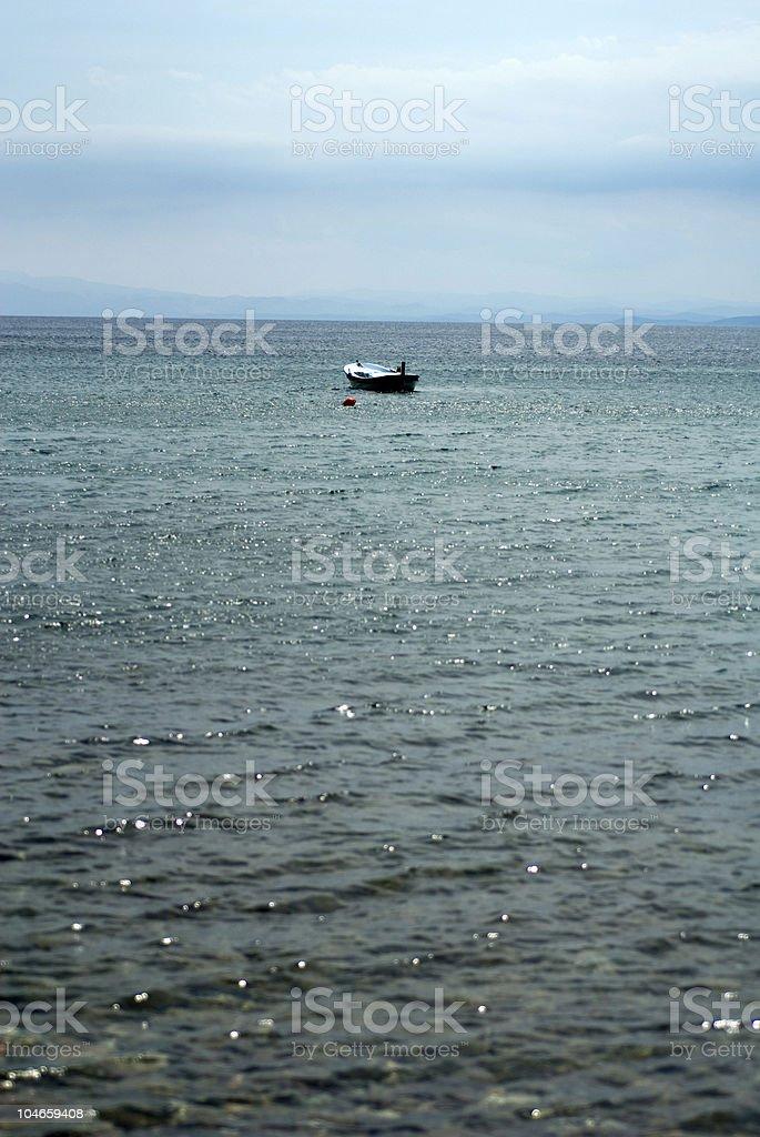 Moored row boat, Çanakkale, Asos, Turkey royalty-free stock photo