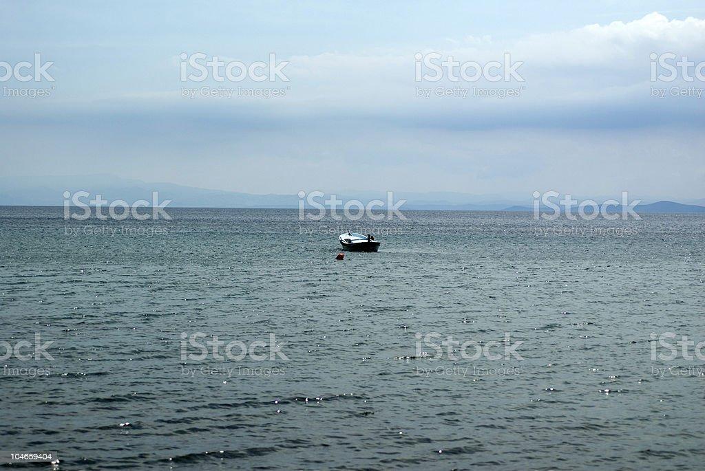 Moored row boat, Çanakkale, Turkey royalty-free stock photo