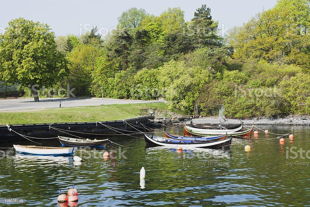 Moored rowboats royalty-free stock photo