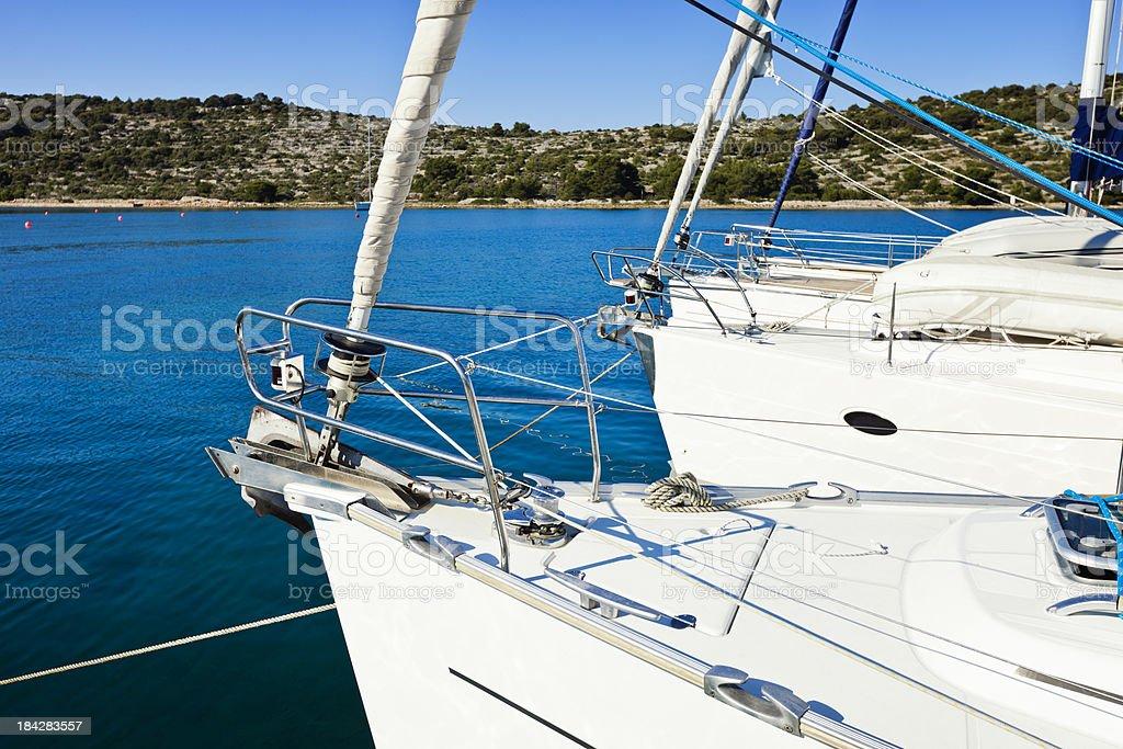Moored sailboats stock photo