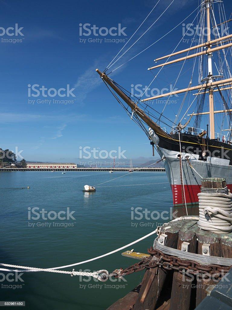 Moored sailing ship stock photo