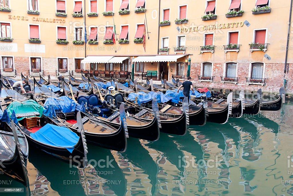 Moored venetian gondolas royalty-free stock photo