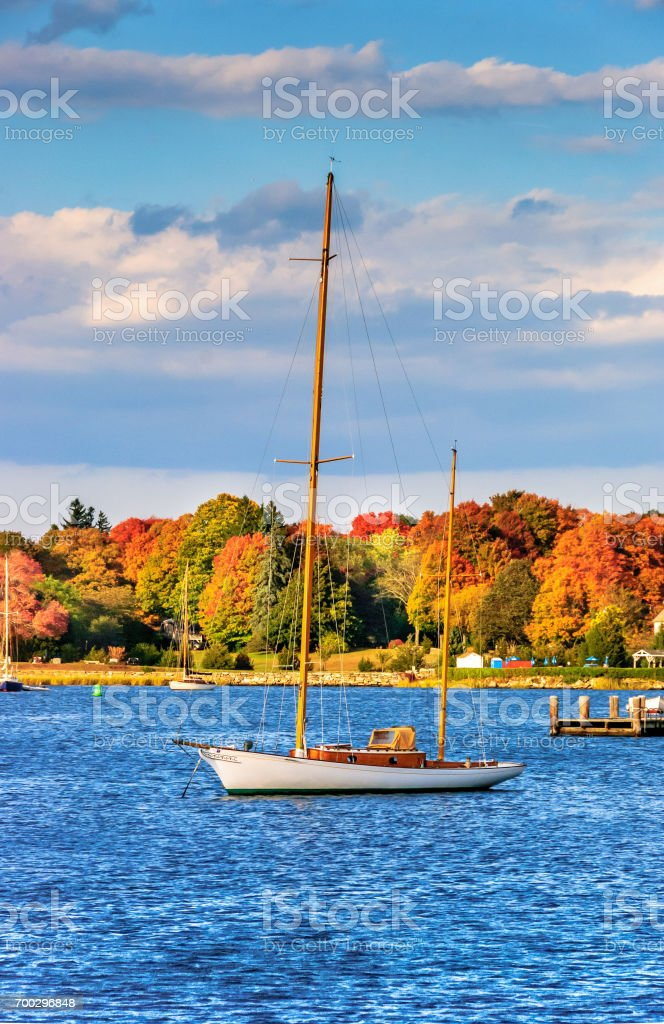 Moored Vintage 1930s Wooden Ketch - October stock photo