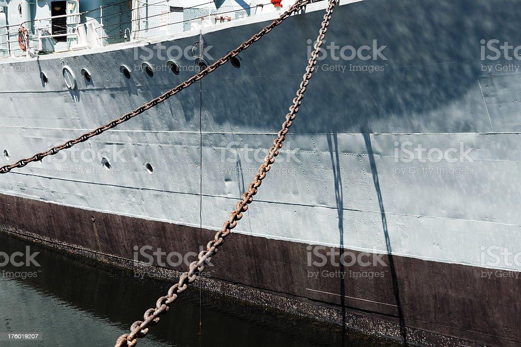 Moored warship stock photo