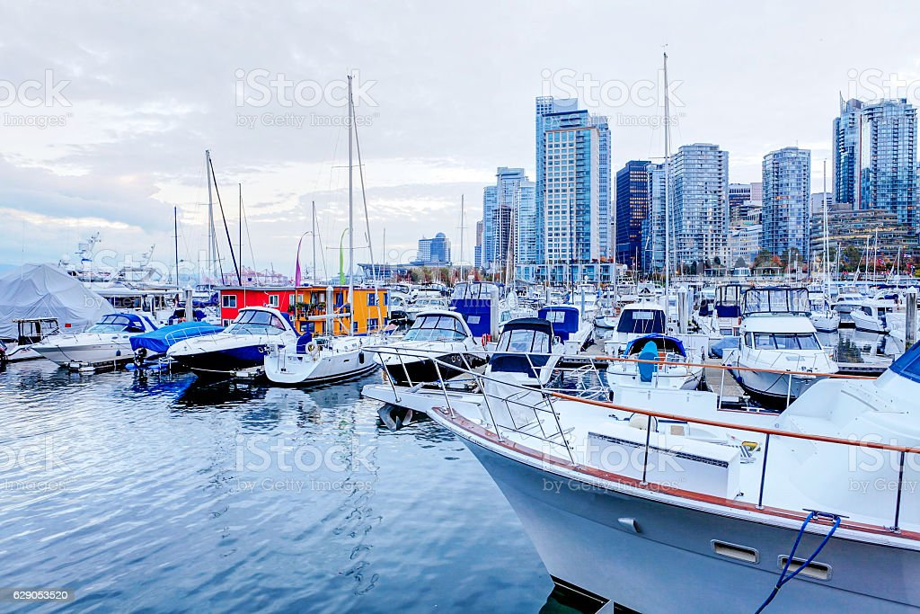 Moored yachts and marina at Coal Harbour in Vancouver, Canada stock photo