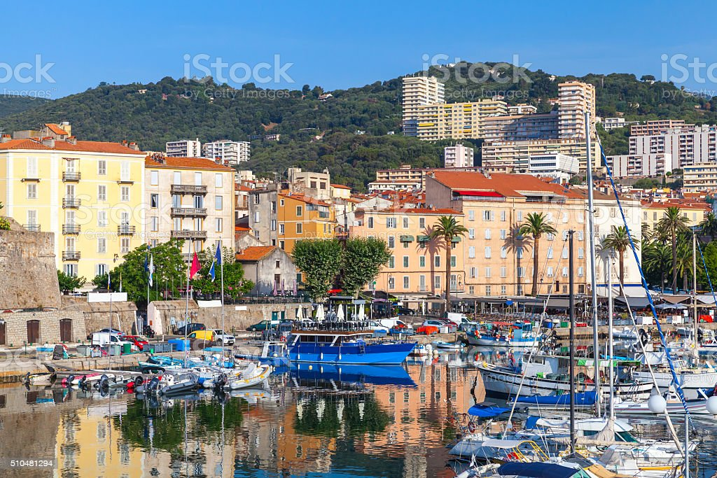 Moored yachts and pleasure boats in old port of Ajaccio stock photo