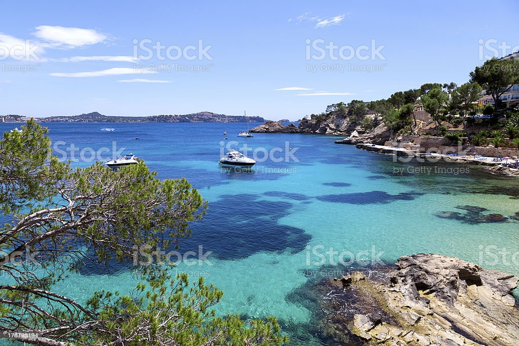 Moored Yachts in Cala Fornells, Majorca stock photo