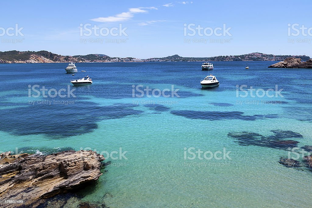 Moored Yachts in Cala Fornells, Majorca royalty-free stock photo