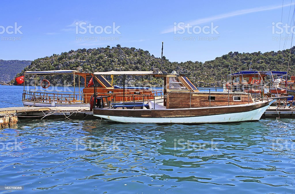 Moored yachts, near Kekova island, Turkey royalty-free stock photo