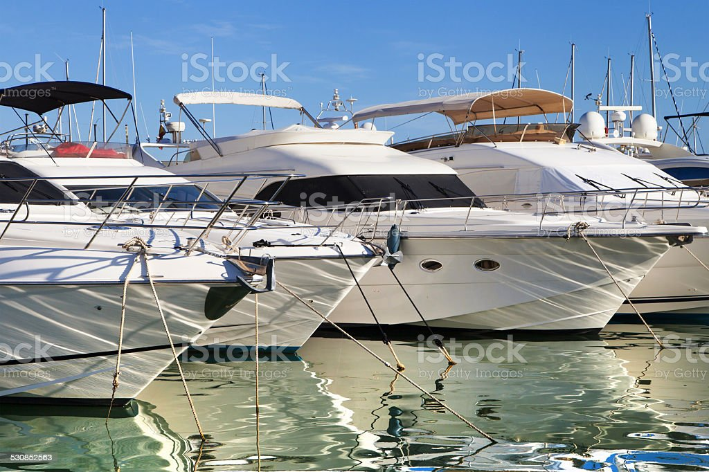 Moored yachts stock photo