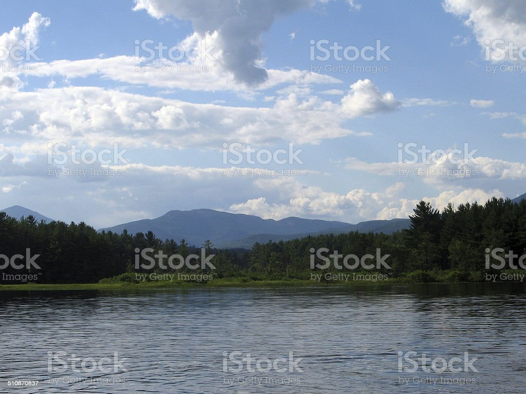 Moore's Pond with Chocorua Mountains in the background stock photo