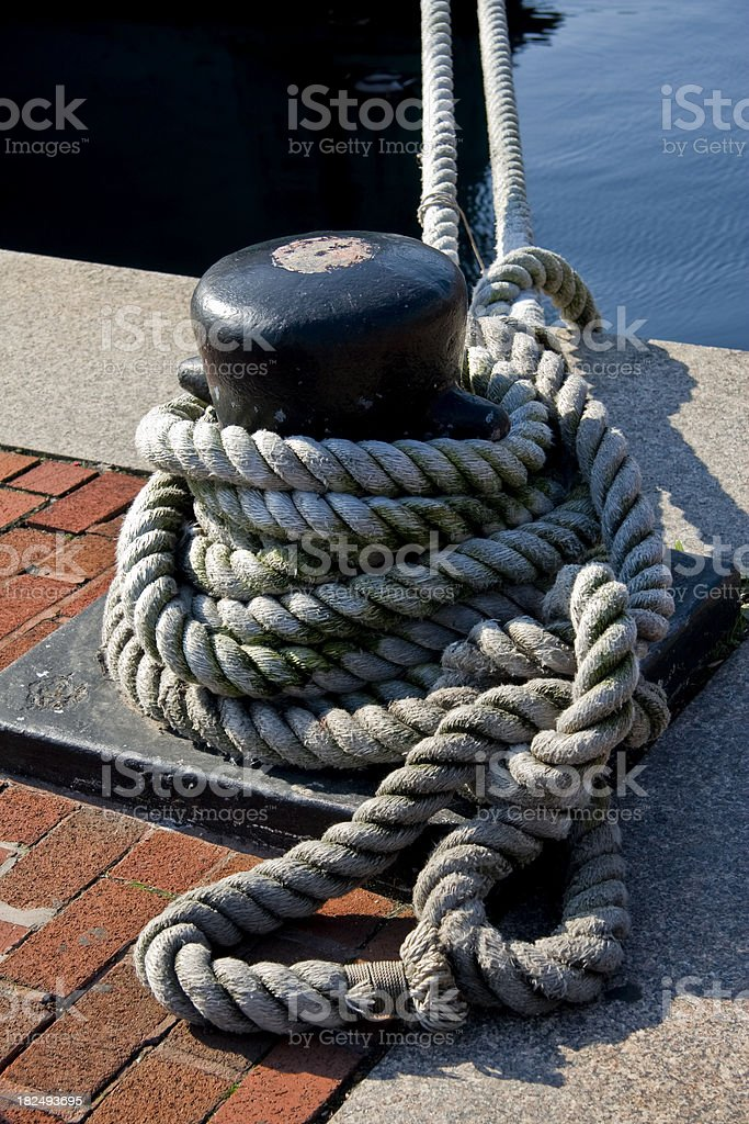 Mooring and Rope Verticle royalty-free stock photo