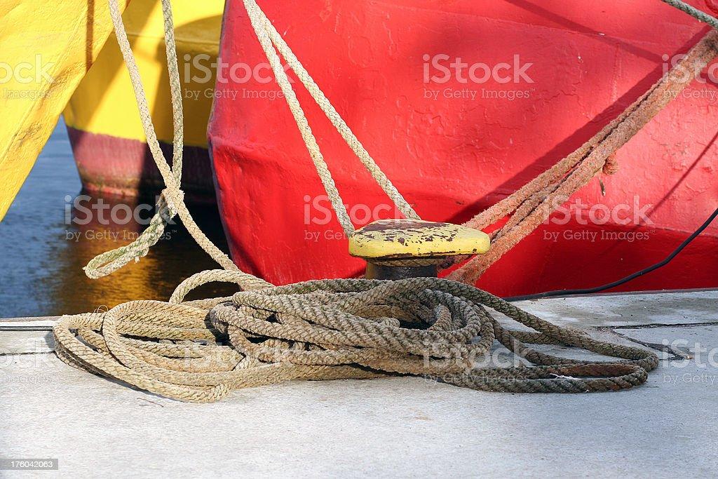 Mooring boat sailing fisherman stock photo