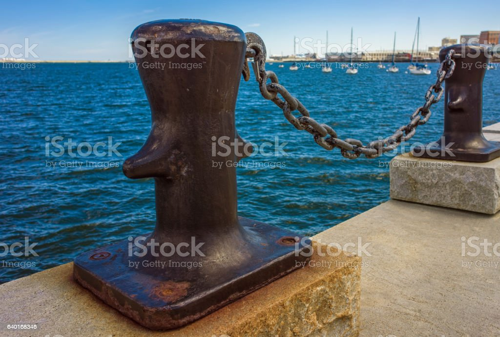 Mooring bollards of Boston Wharf stock photo