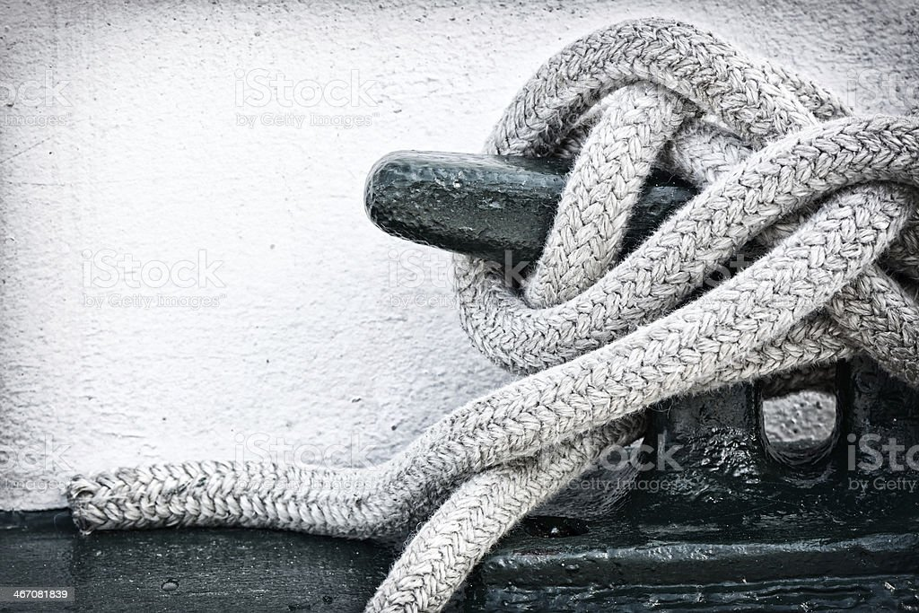 Mooring Line on Cleat stock photo
