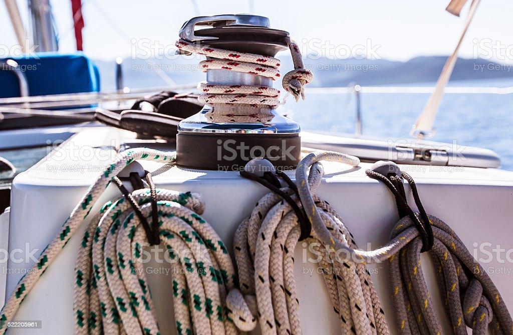 Mooring lines of boats sailing stock photo