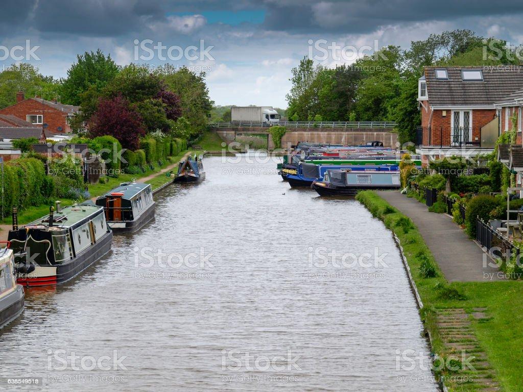 Mooring narrowboats stock photo