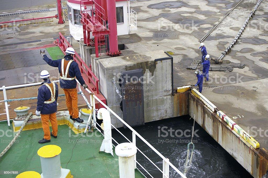 Mooring of ferry stock photo