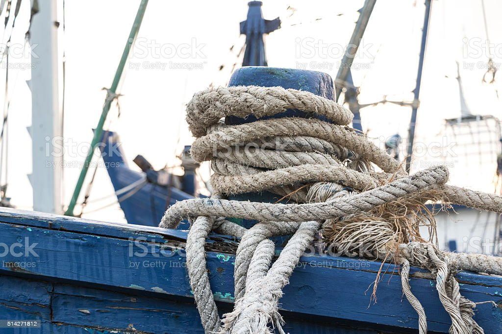 Mooring rope in the boat. stock photo