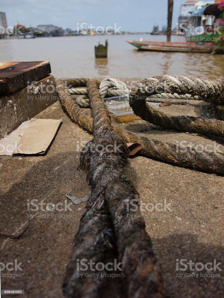 Mooring rope stock photo
