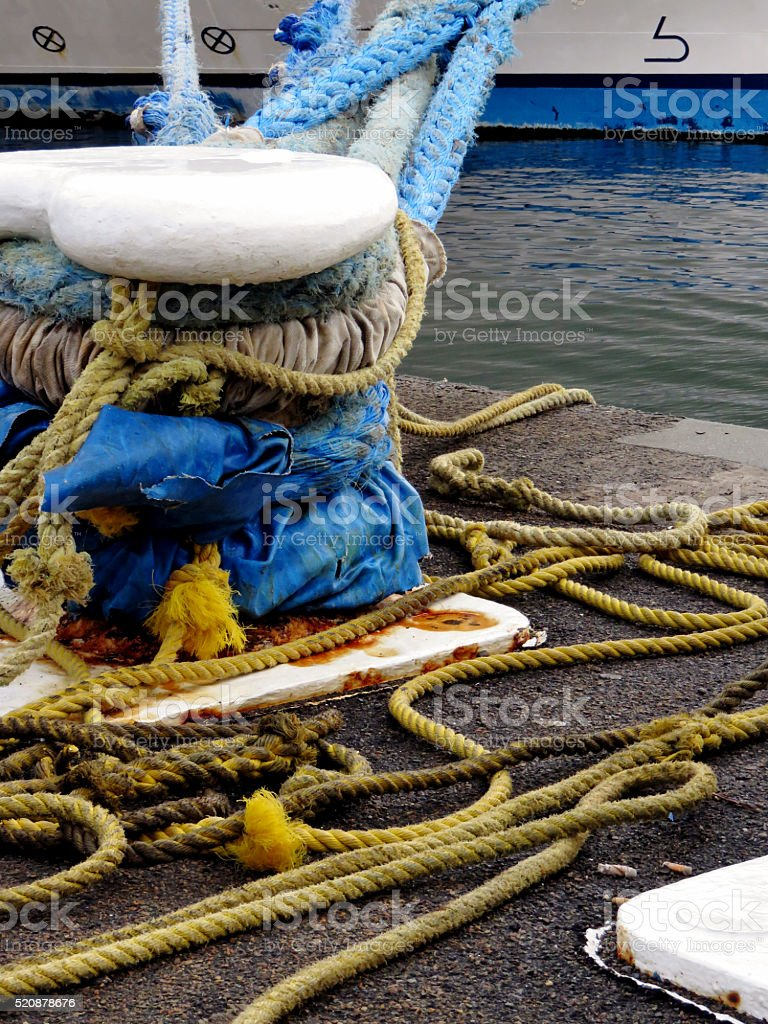 Mooring Ropes stock photo