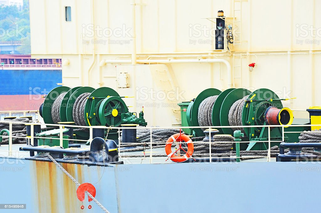 Mooring winch with hawser stock photo